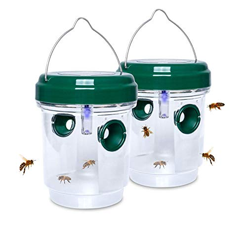homemade mosquito traps 2 Pack Solar Wasp Traps Hanging, Carpenter Bee Traps, Reusable Wasp Bee Catcher Outdoor for Hornets, Yellow Jackets Killer
