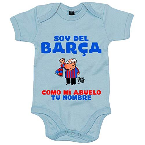 Body bebé frase parodia soy del Barcelona como mi abuelo personalizable con nombre - Celeste, 12-18 meses