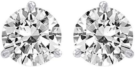 1/2 Carat Solitaire Diamond Stud Earrings Round Brilliant Shape 3 Prong Push Back (J-K Color, I1 Clarity)
