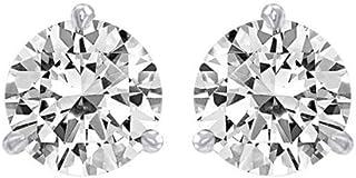 1.25 Carat Solitaire Diamond Stud Earrings Round Brilliant Shape 3 Prong Screw Back (J-K Color, I2 Clarity)