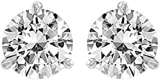 2/3 Carat Solitaire Diamond Stud Earrings Round Brilliant Shape 3 Prong Screw Back (D-E Color, SI1-SI2 Clarity)