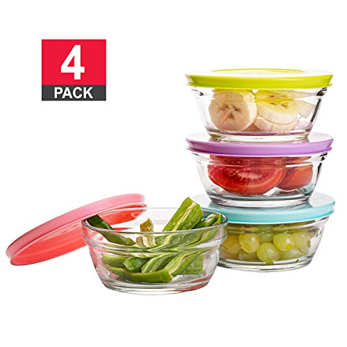 Small Glass Storage Containers with Lids Stackable Bowls Set of 4 with Multi-Colored BPA Free Lids for Cooking Prep Sauce Custard Snack Condiments 85 oz Capacity