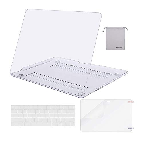 MOSISO Compatible with MacBook Pro 13 inch Case 2020 2019 2018 2017 2016 Release A2338 M1 A2289 A2251 A2159 A1989 A1706 A1708, Plastic Hard Shell&Keyboard Cover&Screen Protector&Pouch, Crystal Clear