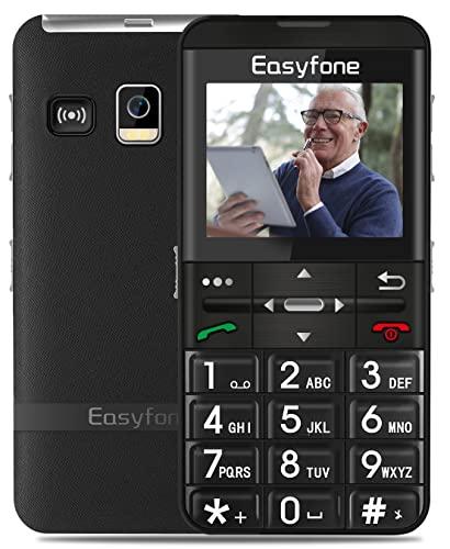 """Easyfone Prime-A7 gsm Teléfono Móvil para Mayores, Pantalla HD IPS 2,0"""", Botón SOS con GPS, Batería1500mAh, Fácil de Usar telefonos basicos para Ancianos con Base cargadora (Negro)"""