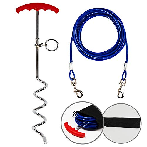 Tie Out Cable and Dog Stake for Yard,Dog Leash Stake with Solid Dog Chain 30ft for Medium Large Dogs Up to 125 Pound,for Camping and Garden