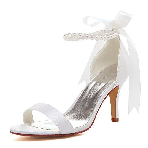 Elegantpark EP11053N Donna Cinturino alla Caviglia Open Toe Tacchi Alti a Spillo Sandali Perla Nastro Satin Scarpe da Sposa Bianco EU 40