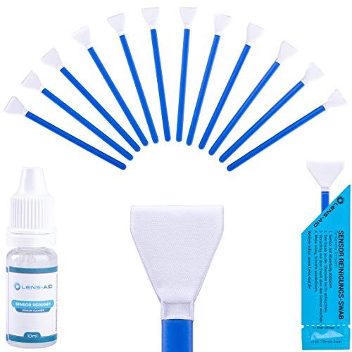 Lens-Aid Sensor Reinigungsset mit Swabs und Flüssig-Reiniger für APS-C Kameras: 12x Mikrofaser Swab 16 mm einzeln verpackt inkl. Liquid
