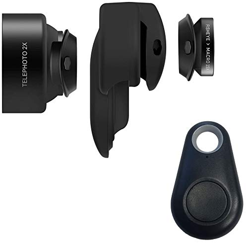 Olloclip 3-in-1 Essential Lens Kit Includes Telephoto 2X + Fisheye + Macro15x - Compatible with iPhone 11 MAX Smartphone + Selfie Bluetooth Remote