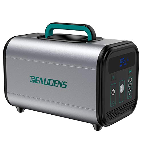 BEAUDENS 380Wh LiFePO4 Portable Power Station, Lithium Iron Phosphate Battery, 300W Pure Sine Wave AC Outlet, Solar Generator Backup Battery Pack for CPAP Camping Emergency Outdoor Generators