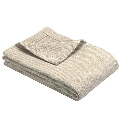 Ibena Valencia Kuscheldecke 140x200 cm - Tagesdecke beige, kuschelig weich & angenehm warm, hochwertige Leicht zu pflegene Baumwollmischung