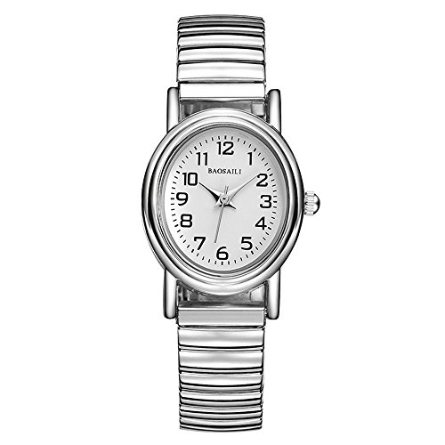 Simple Silver Elastic Stainless Steel Watch,Easy to Wear Easy Read for Middle-Aged & Elderly Women Wrist Watches