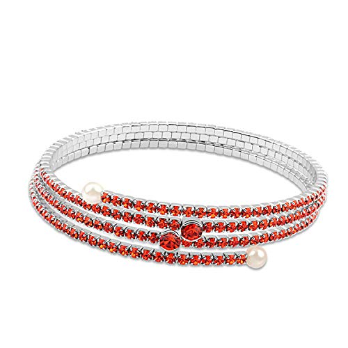 ZhongYi Simple Geometry Three Rows Sansheng Crystal Pearl Bracelet