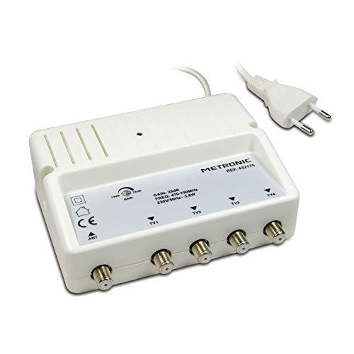 Metronic 432175 - Amplificador señal de Antena TV, Compatible 4G, 28dB, 4...