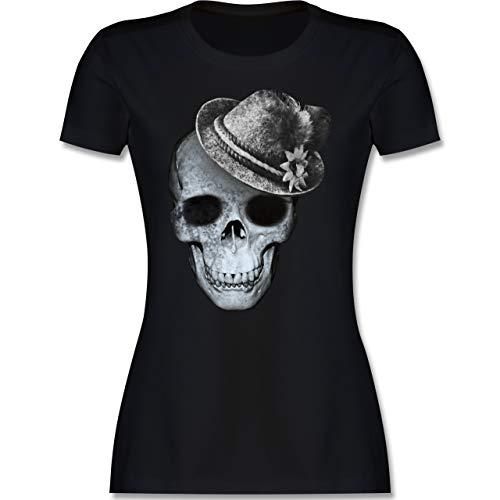 Oktoberfest & Wiesn Damen - Totenkopf mit Filzhut - XXL - Schwarz - Oktoberfest Damen t Shirt - L191 - Tailliertes Tshirt für Damen und Frauen T-Shirt