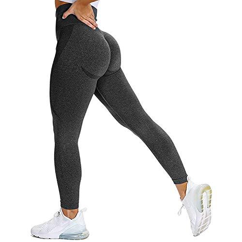 Memoryee Mujeres Cintura Alta Pantalones sin Costuras Levantamiento de Trasero Control de la Barriga Mallas de compresión Entrenamiento Gimnasio de Yoga