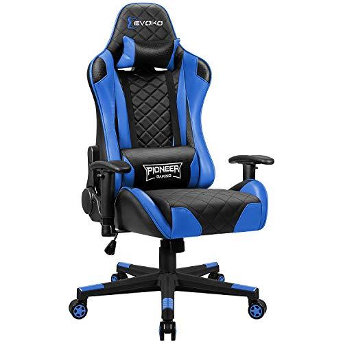Homall Gaming Stuhl Bürostuhl Ergonomischer PC-Stuhl Gamer Stuhl Einstellbare Armlehne Racing Computerstuhl PC Schreibtischstuhl, Blau