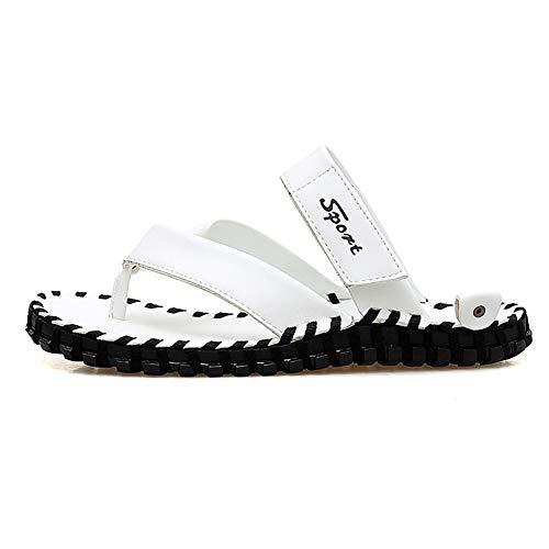POOSCA Zapatillas clásicas de Oxford, para hombre, hermosas, de moda, para hombre, estilo deslizante, piel de microfibra, color puro y resistente al agua (color: blanco, tamaño: 7)