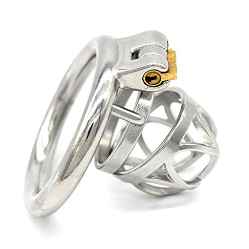 PQB Pleasing Round Solid Fine Stainless Steel Lock with Stainless Steel Ring, Male Abstinence Chāstity Ring, Suitable for Men who travel long or travel jeans