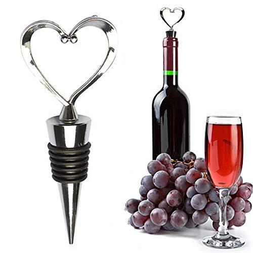 Kunyun 2pcs Corazón En Forma De Vino Tinto Champagne Botella Tapón De San Valentín Regalos De Boda