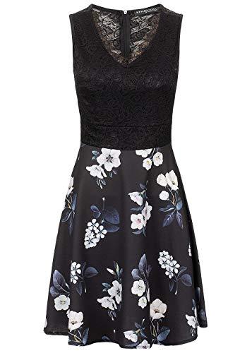 Styleboom Fashion® Damen Kleid Lace V-Neck Flower Dressärmellos schwarz Weiss blau, Gr:XXL