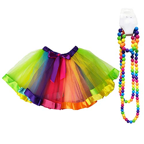 Danballto 80s Rainbow Tutu Skirt for Girls Dance Party Halloween Women Tutu Adult Unicorn Tutu Costume Necklace Bracelet