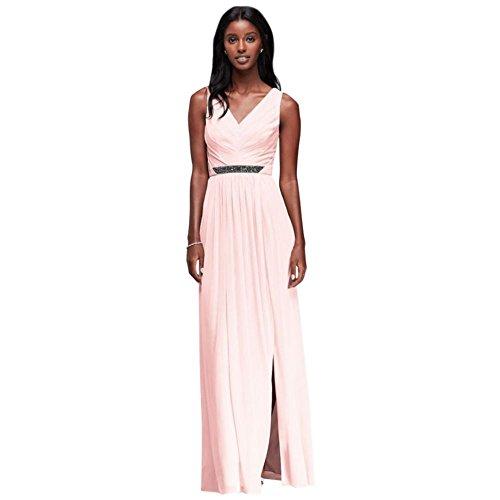 David's Bridal Long Mesh Bridesmaid Dress with V-Neck and Beaded Waistband Style W11092, Petal, 8