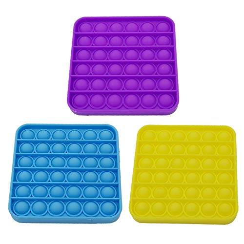 3 Pack Anti-Anxiety Bubble Sensory Toys, Multi-Shaped Decompression Silicone Push Pop Bubbles Suitable for People of All Ages (Square)