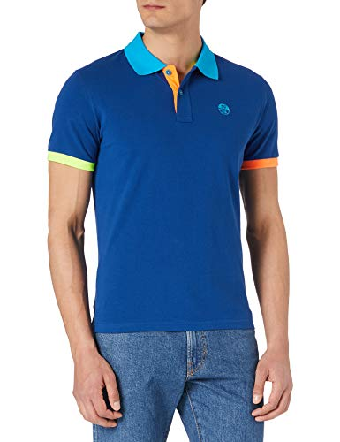 North Sails Cotton Piqué Polo Shirt - Maglietta Polo Uomo, Blu (Ocean Blue), Large