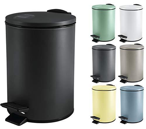 Spirella Kosmetikeimer 3 Liter Edelstahl mit Absenkautomatik und Inneneimer Adelar Badezimmer Mülleimer Softclose Abfalleimer schwarz