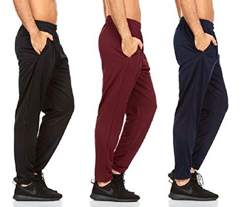 DARESAY - Pantalones activos para hombre con bolsillos, varios paquetes, Straight, L, Rayas negras/azul marino/rayas carbón, paquete de 3