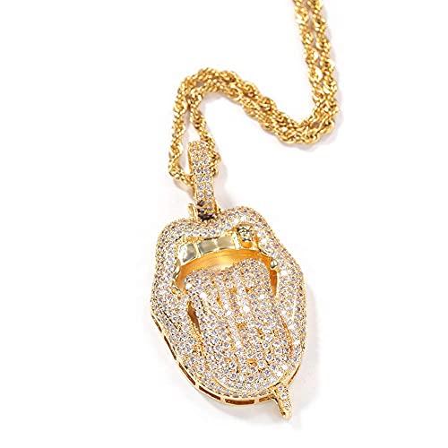 AMOZ Hip Hop Tongue Necklace, Gold Micro Pave Cubic Zirconia Copper Men Rap Pendants Jewelry Classic,Gold