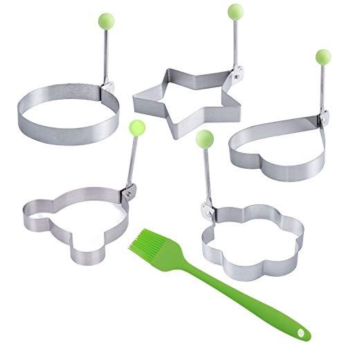 JZK 5 x Moldes de Huevo Frito para sartén con Cepillo Silicona, Molde modelar para Pasteles panqueques Galletas, moldes Anillo con Mango Acero Inoxidable para Huevo