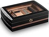 JIAWYJ XIAOJUAN Vidrio Transparente Ventana Caja de cigarros higrómetro y humidificador Caja de Vidrio Transparente Caja de cigarro Caja Decorativa