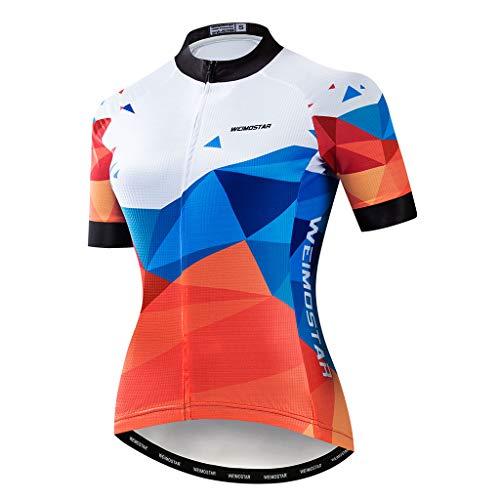 DIMPLEYA Frauen MTB T-Shirts, Mountainbike Radfahren Jersey Straßen-Fahrrad-Bekleidung MTB Tops Sommer-Kleidung Atmungsaktiv Schnell Trocknend Komfortabler,Weiß,M