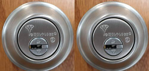 Set of 2 High Security Mul-T Lock Cronus Junior Deadbolts with 5 Keys (Both keyed Alike) (Stainless Steel)