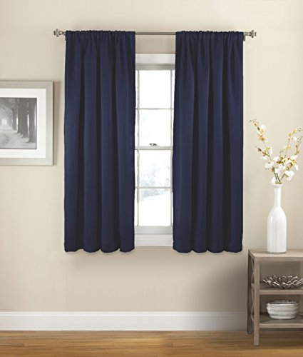 """ECLIPSE Room Darkening Curtains for Bedroom - Solid Thermapanel 54"""" x 54"""" Thermal Insulated Single Panel Rod Pocket Light Blocking Curtains for Living Room, Navy"""