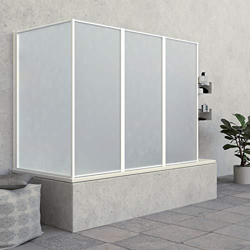 Parete sopravasca pieghevole in alluminio bianco e acrilico opaco 1+3 pannelli 62+133cm altezza 140cm (64+133 cm)