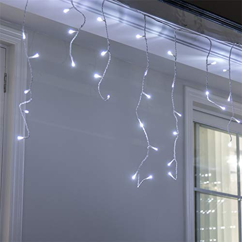 Vanthylit 320LED Icicle Strip Light Cool White with 8 Functions Twinkle String Lights for Spring Deco Shopping Centers Hotel Patio Yard Garden Wedding Party Christmas Lights Holiday Icicle Lights