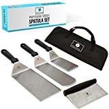 Jordigamo - Deluxe Griddle Spatula Set - Professional Stainless Steel Cooking Kit - 3 Spatulas Scraper Carrying Bag - Camping Tailgating Outdoor BBQ - Grilling Hibachi Accessories - Metal Tool Set