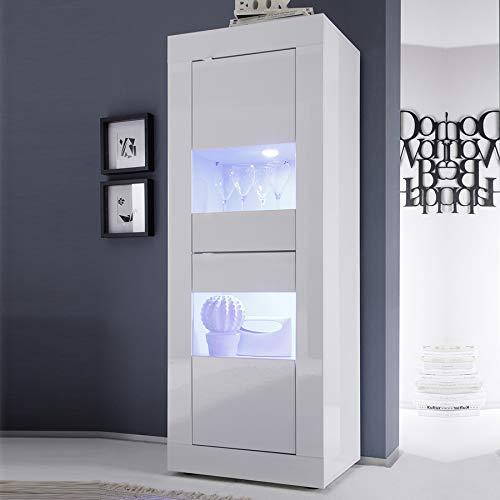 Vitrina de diseño blanco lacado 60 x 160 con iluminación LED opcional FOCIA 2