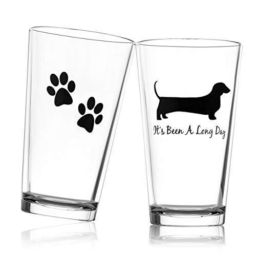 Drinking Divas - It's Been a Long Day - Dachshund Funny Novelty Beer Glass Perfect for Father's Day Gift Wiener Dog Gifts Beer Gifts Dog Beer Gifts Present for Dad Papa Grandpa - 16 oz glass