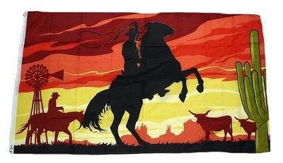 Fahne / Flagge Cowboy mit Pferd NEU 90 x 150 cm