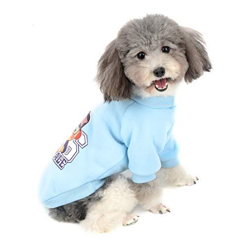 Zunea Kleiner Hund Pullover Mantel für Hunde Junge Mädchen Winter Warm Baumwolle Gepolstert Sweatshirt Welpen Haustier Kleidung Jacke Sport T-Shirt für kaltes Wetter Blau L