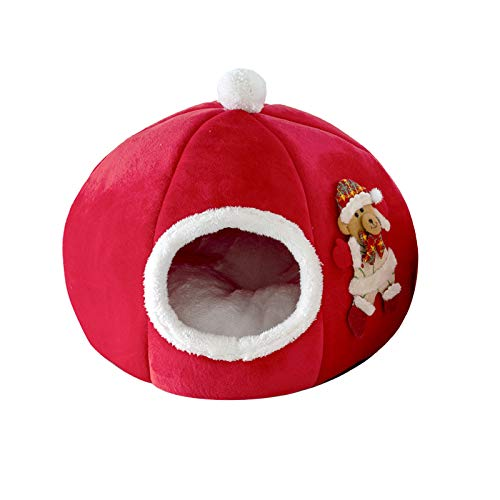 Jiuhencaodan Cat Caves Houses,Christmas Pet Cave Creative Tree Shape Cat House Pet Nest for Cats Kittens