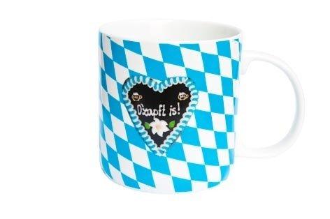 Braun porseleinen beker, wit/blauw, 95037