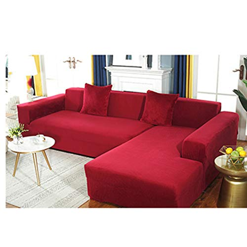 BEOTARU Velvet Plush Sofa Cover for Living Room Elastic Furniture Covers Chaise Longue Corner Couch Slipcover