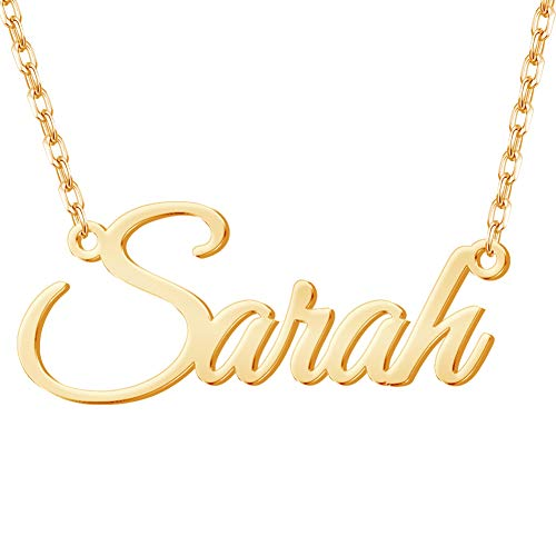 Misstrend Personalized Name Necklace, 18K Gold Plated Custom Nameplate Necklace Dainty Customized Jewelry Gift for Mother