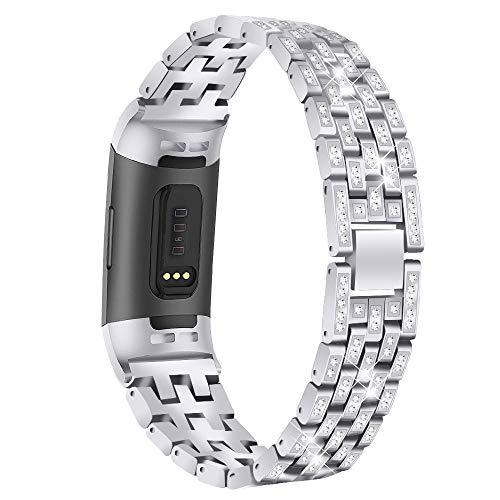 TenCloud - Correas de repuesto compatibles con Fitbit Charge 4/Charge 4 SE/Charge 3, pulsera de metal con diamantes de imitación, para pulsera de actividad Charge 4/Charge 3, color plata