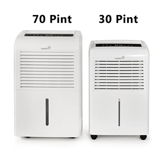 Ivation 4,500 sq ft energy star dehumidifier, large capacity compressor dehumidifier includes programmable humidistat… 9 this compressor dehumidifier keeps spaces up to 4,500 sq. Ft. Cool & comfortable by removing 50 pints of moisture/day (70 pint according to the old doe standards, in 2019 this was classified as 70 pint and it now needs to be classified as 50 pint but it removed the same moisture as the old 70 pint) built-in humidity sensor - the lcd accurately displays the current humidity level in the room, enabling you to set your ideal levels for automatic moisture control low maintenance & easy operation; simply plug-in, select settings & empty 2. 25 gallon reservoir