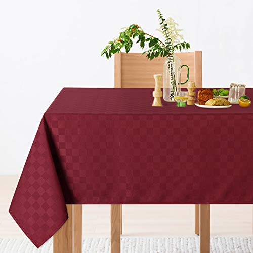 CAROMIO Rectangle Picnic Tablecloth,Water Resistance Rectangular Oblong Microfiber Tablecloth for Buffet Banquet Parties Event Holiday Dinner(Rectangle,60 x 102 Inch,Burgundy)